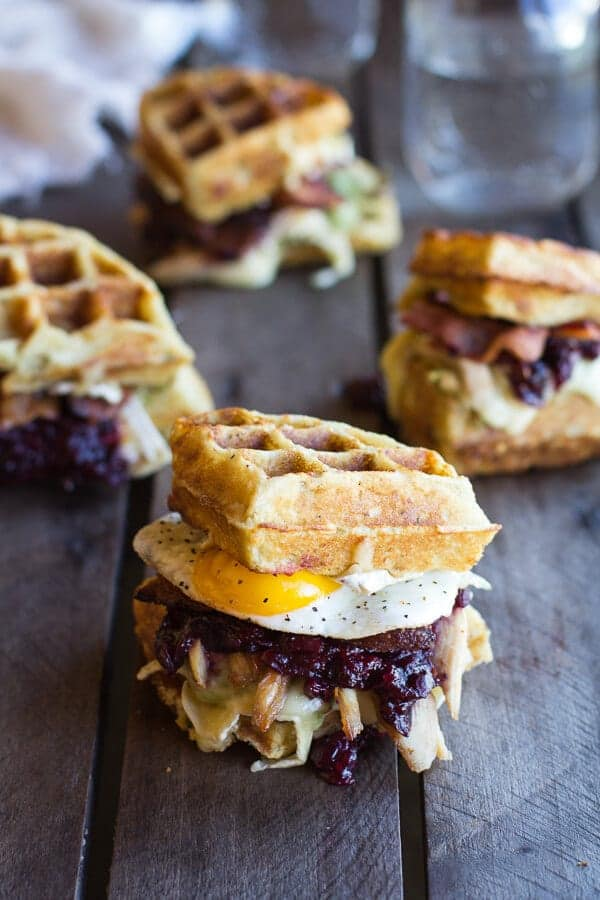 Turkey, Smashed Avocado, Cranberry, Brie and Mashed Potato Waffle Melts | halfbakedharvest.com