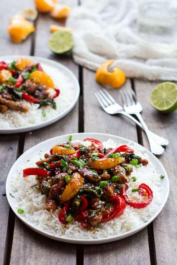 30 Minute Sweet Asian Chili Pork, Ginger and Tangerine Stir Fry   halfbakedharvest.com