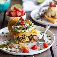 Breakfast Chimichangas with Avocado + Cotija Cheese.