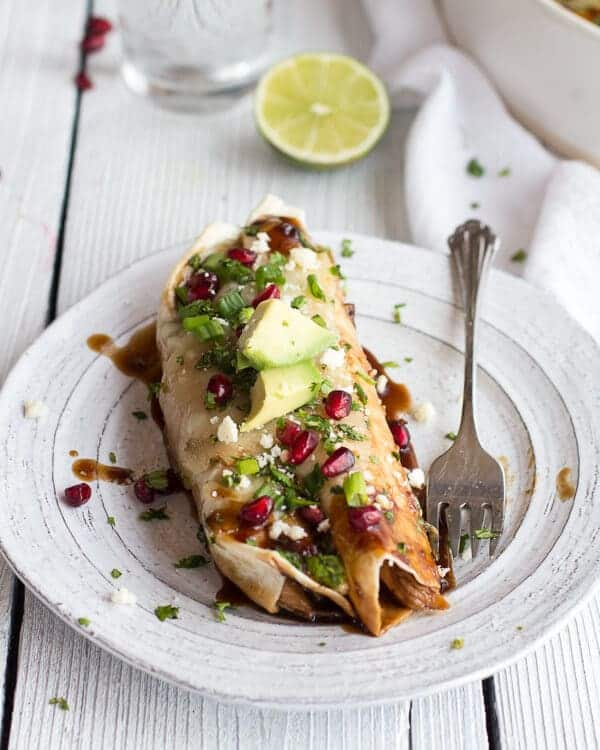 Cheesy Sweet and Sour Pomegranate Thai Chicken Enchiladas-10