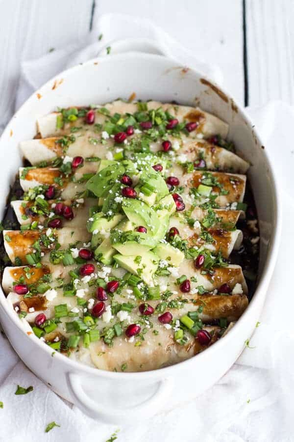 Cheesy Sweet and Sour Pomegranate Thai Chicken Enchiladas | halfbakedharvest.com