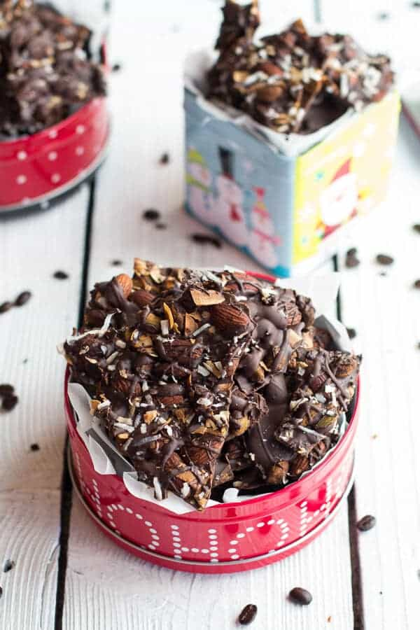 Coffee Roasted Almond + Toasted Coconut Dark Chocolate Bark | halfbakedharvest.com