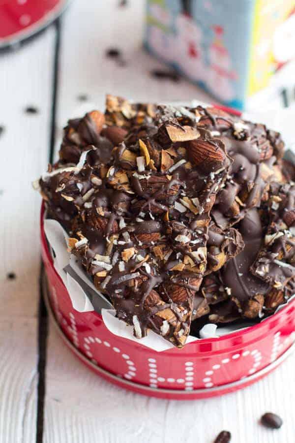 Coffee Roasted Almond + Toasted Coconut Dark Chocolate Bark | halfbakedharvest.com