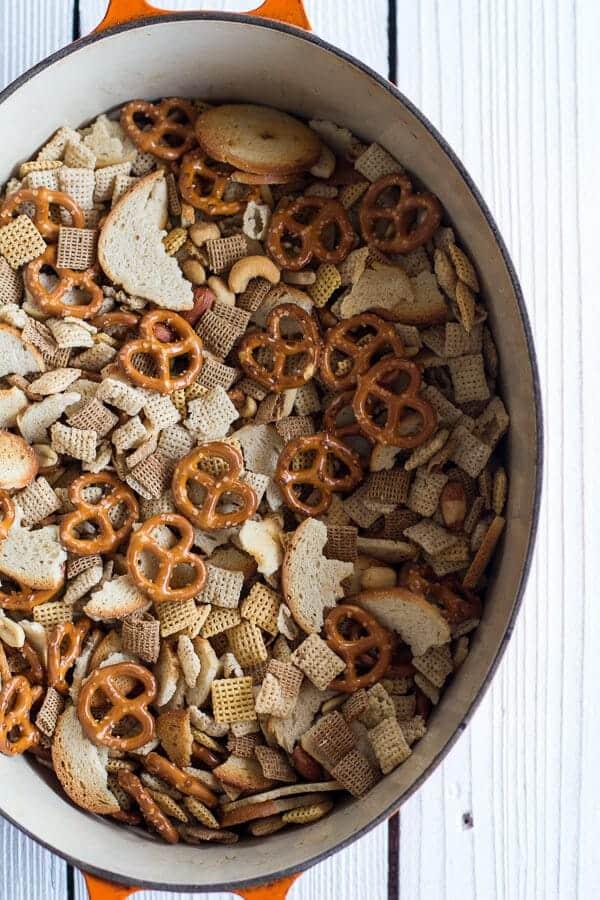 Mom's Secret Christmas Eve Chex Mix | halfbakedharvest.com