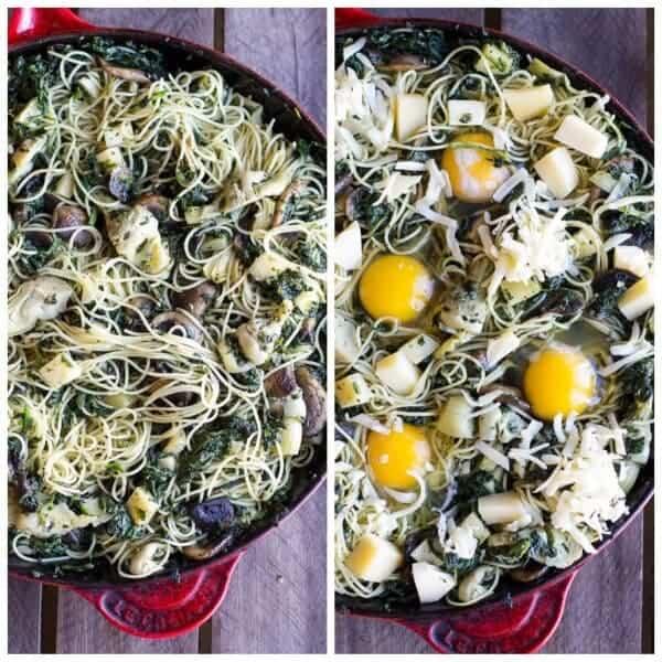 Fontina Spinach and Artichoke Breakfast Pasta Hash | halfbakedharvest.com