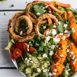 Buffalo Chicken + Blue Cheese Guacamole and Crunchy Baked Onion Ring Salad.