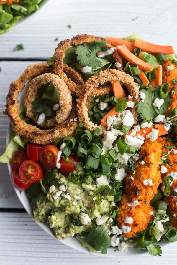 Buffalo Chicken + Blue Cheese Guacamole and Crunchy Baked Onion Ring Salad | halfbakedharvest.com