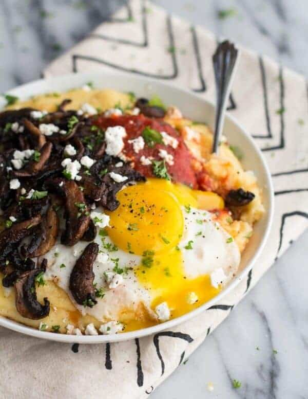 Polenta with Caramelized Mushrooms, Marinara + Fried Eggs and Goat Cheese | halfbakedharvest.com