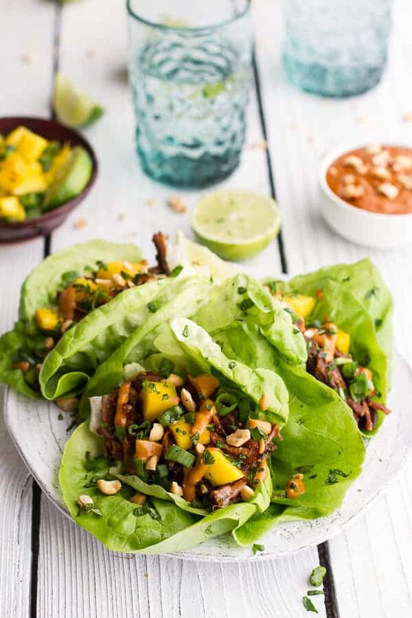 Crockpot Curried Thai Short Rib Lettuce Wraps with Peanut Sauce + Mango Salsa | halfbakedharvest.com