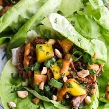 Crockpot Curried Thai Short Rib Lettuce Wraps with Peanut Sauce + Mango Salsa.