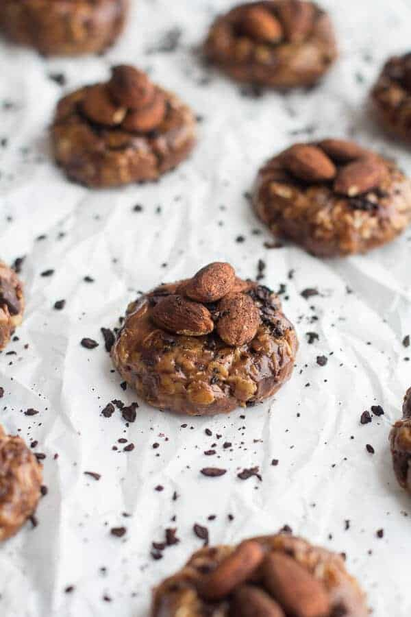 Dark Chocolate Covered Coffee Roasted Almond and Peanut Butter Oatmeal Bites | halfbakedharvest.com