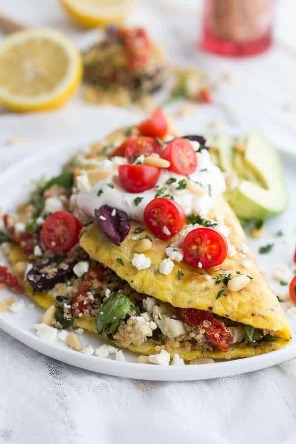 Mad Greek Quinoa Dinner Omelets with Feta and Tzatziki   halfbakedharvest.com