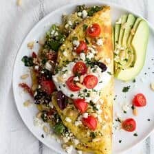 Simple Greek Quinoa Dinner Omelets with Feta and Tzatziki.