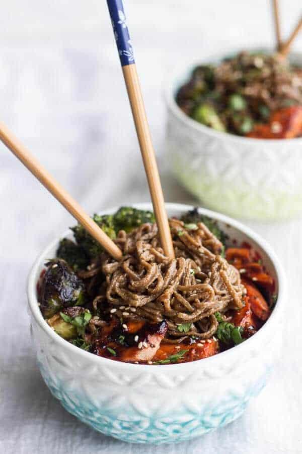 Hoisin Caramelized Salmon and Sesame Soba Noodle Bowls | halfbakedharvest.com