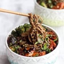 Hoisin Caramelized Salmon and Sesame Soba Noodle Bowls.