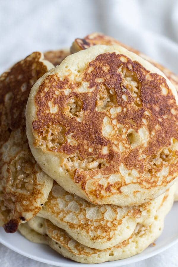 Rice Krispie Treat Pancakes with Browned Butter Syrup | halfbakedharvest.com