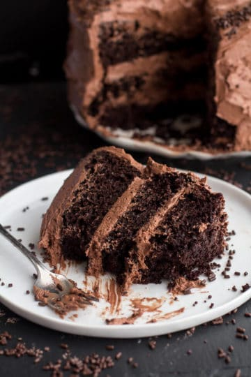 Simple Chocolate Birthday Cake with Whipped Chocolate Buttercream + Video.