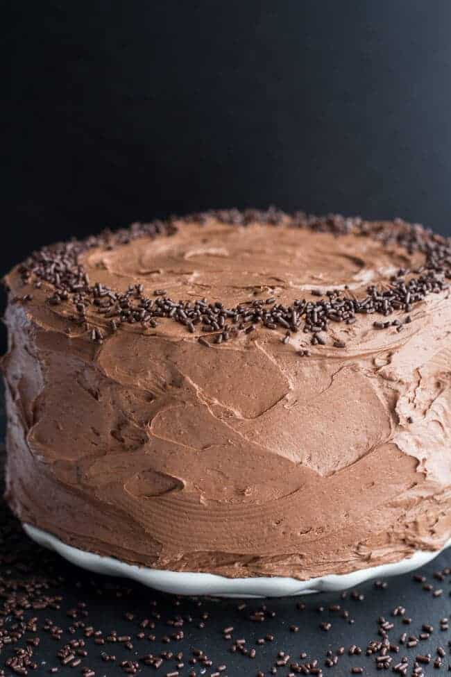 Simple Chocolate Birthday Cake with Whipped Chocolate Buttercream | halfbakedharvest.com