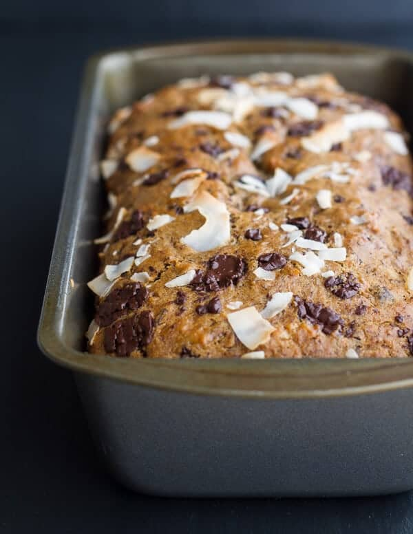 Toasted Coconut and Chocolate Chunk Roasted Banana Bread | halfbakedharvest.com