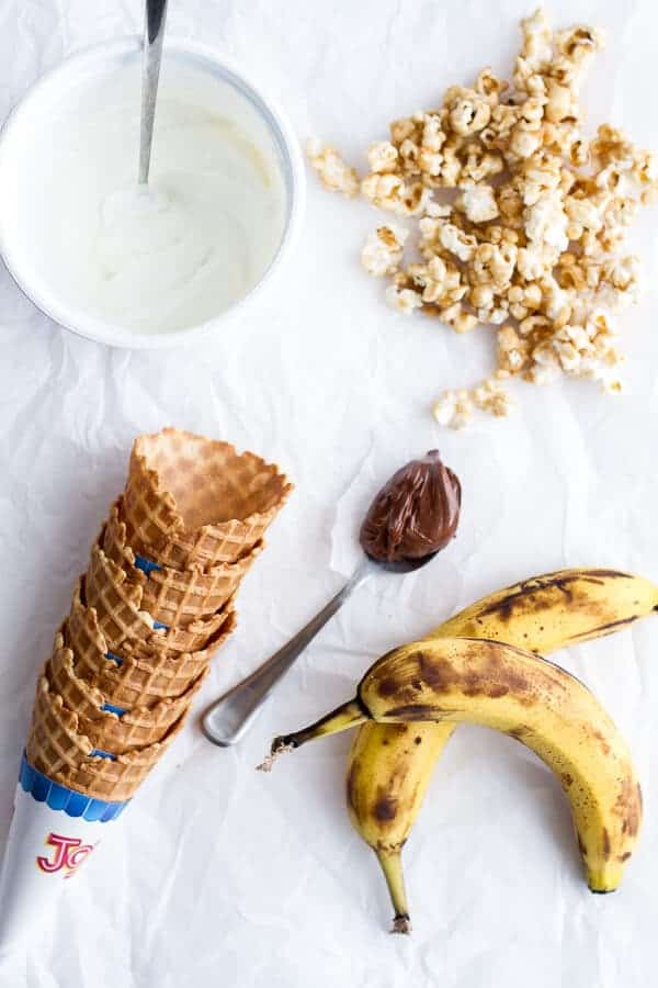 Banoffee + Nutella Greek Yogurt Waffle Cone Parfaits with Cashew Caramel Popcorn | halfbakedharvest.com