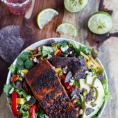 Chile Lime Salmon Fajita Salads with Cilantro Lime Vinaigrette.-1