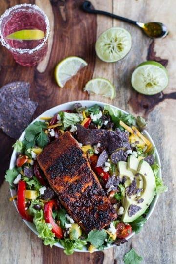 Chile Lime Salmon Fajita Salad with Cilantro Lime Vinaigrette.