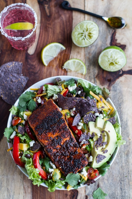 Chile Lime Salmon Fajita Salads with Cilantro Lime Vinaigrette.-1