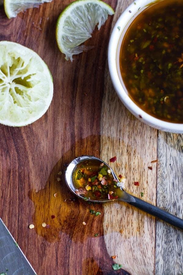 Chile Lime Salmon Fajita Salad with Cilantro Lime Vinaigrette   halfbakedharvest.com