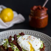 Harissa, Smashed Avocado + Egg Toast with Goat Cheese and Honey Drizzle.-1