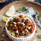 One Pot Moroccan Chicken + Chickpeas with Pistachio Couscous and Goat Cheese.-1