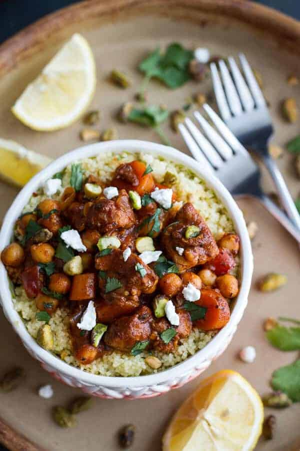 One Pot Moroccan Chicken + Chickpeas with Pistachio Couscous and Goat Cheese   halfbakedharvest.com