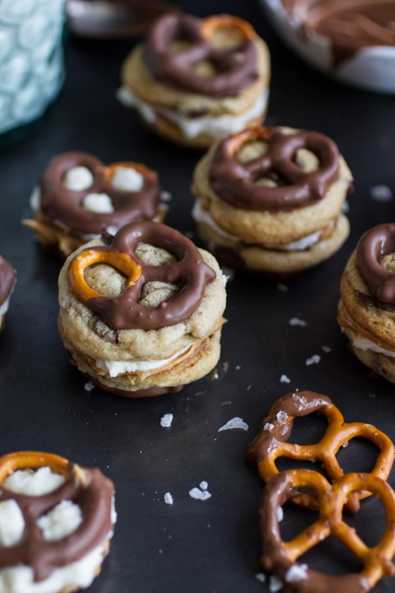 Peanut Butter Stuffed Chocolate Covered Pretzel Cookies Cream.-1