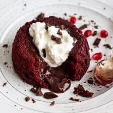 Red Velvet Molten Chocolate Lava Cakes with Chocolate Ganache Center.