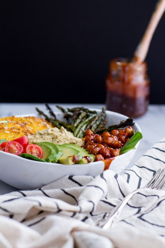 Spicy BBQ Chickpea and Crispy Polenta Bowls with Asparagus + Ranch Hummus.-1
