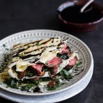 Steak, Spinach and Mushroom Crepes with Balsamic Glaze.