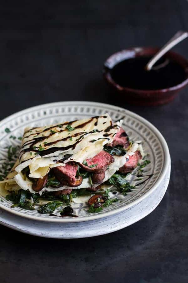 Steak, Spinach and Mushroom Crepes