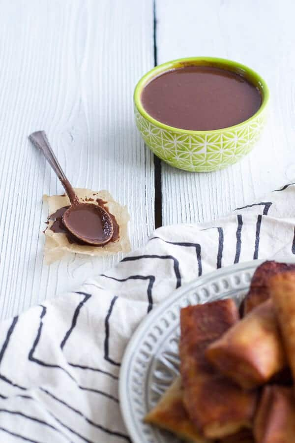 Sweet Banana Lumpia with Milk Chocolate Toasted Coconut Butter | halfbakedharvest.com