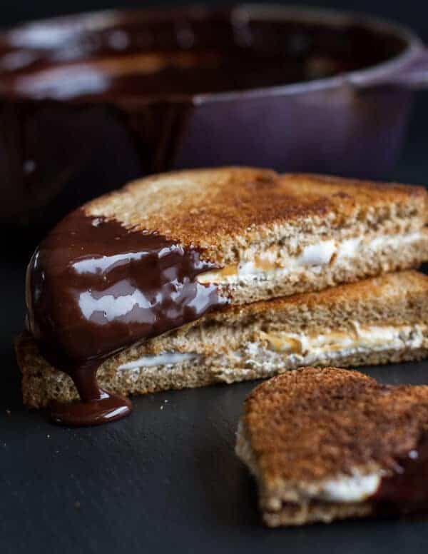 Toasted Fluffernutters with Cabernet Chocolate Fondue | halfbakedharvest.com