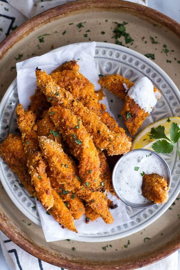 Black Pepper Rub Chicken Fingers with Greek Yogurt Ranch | halfbakedharvest.com