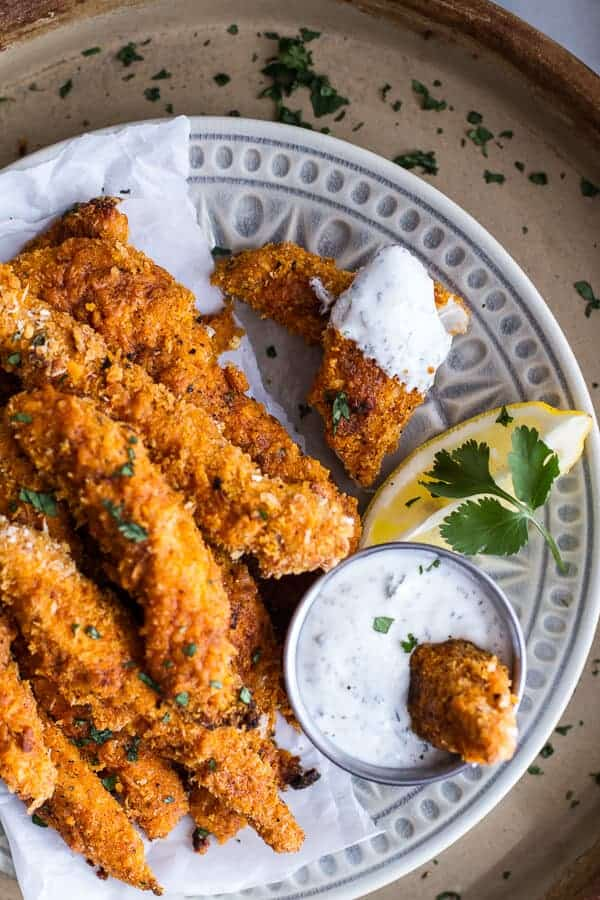 Black Pepper Rub Chicken Fingers with Greek Yogurt Ranch | halfbakedharvest.com