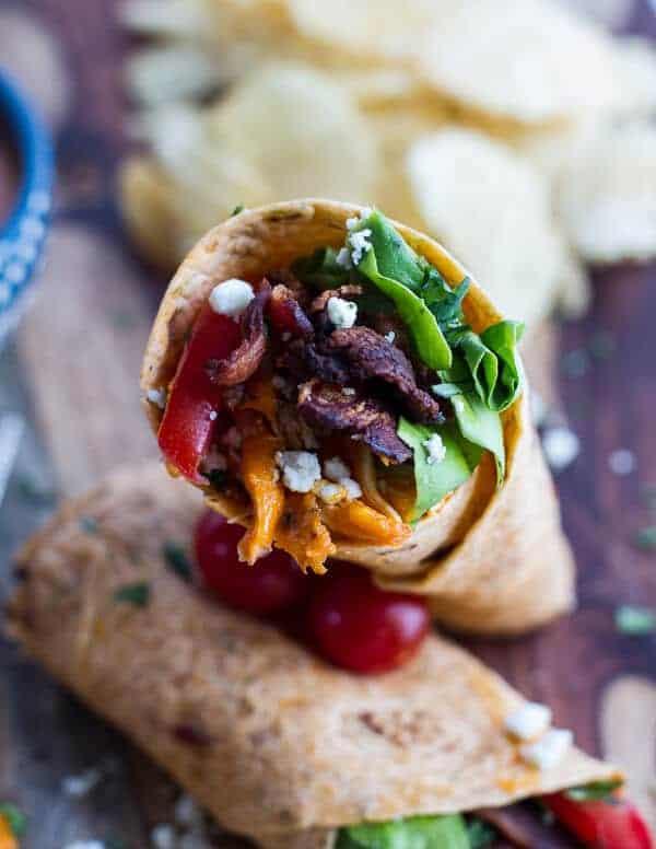Buffalo Chicken + Avocado BLT Wraps | halfbakedharvest.com