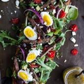 Greek Steak Salad French Bread with Soft Boiled Eggs + Feta-1