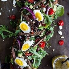 Greek Steak Salad French Bread with Soft Boiled Eggs + Feta.
