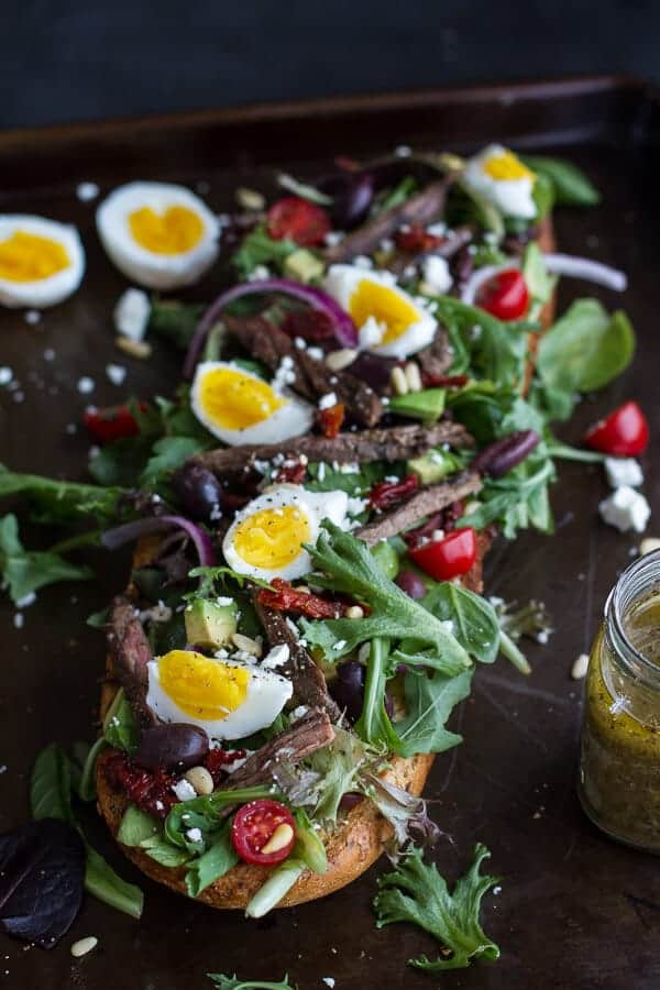 Greek Steak Salad French Bread with Soft Boiled Eggs + Feta | halfbakedharvest.com/