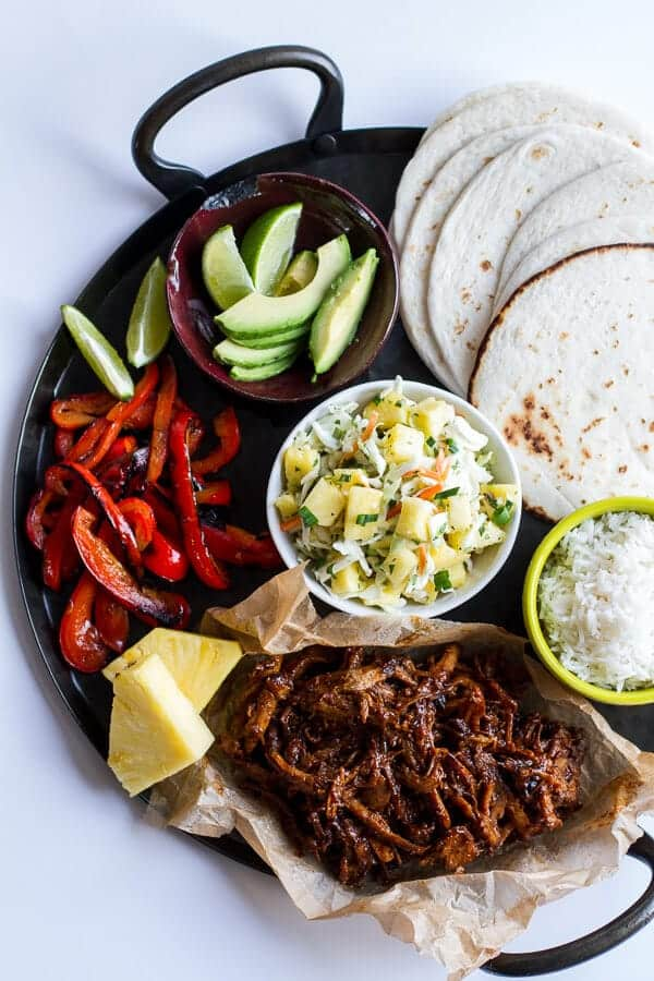 Hawaiian Hula Pork Fajitas with Pineapple Slaw + Coconut Rice | halfbakedharvest.com