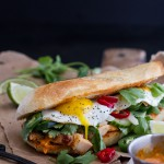 Mahi Mahi Banh Mi with Spicy Curried Mayo + Fried Eggs.
