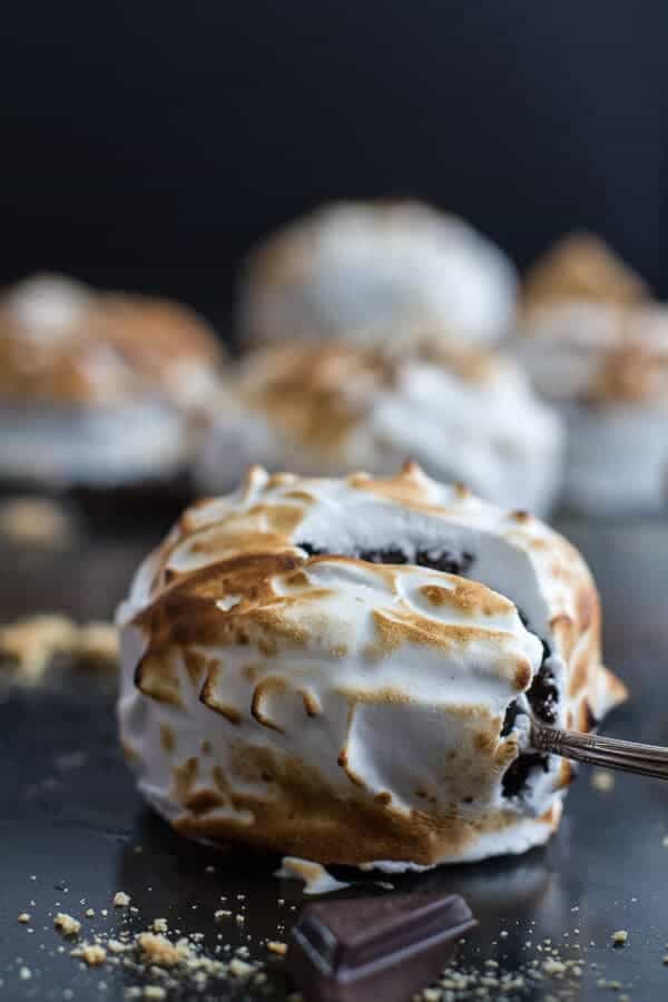 Meringue Encased Chocolate Mousse S'more Cakes | halfbakedharvest.com