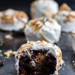 Meringue Encased Chocolate Mousse S'more Cakes.