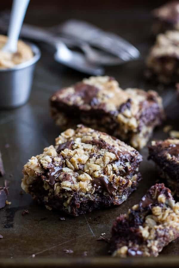 Oatmeal Chocolate Chunk Cookie Peanut Butter Swirled Brownies | halfbakedharvest.com