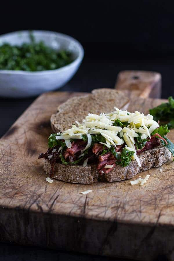 Savory Corn Beef Brisket + Irish Cheddar French Toast with Kale Pesto Slaw | halfbakedharvest.com